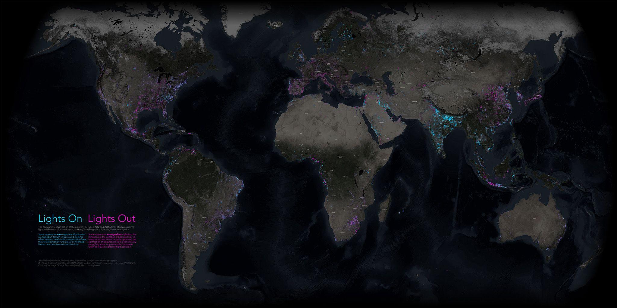 Lichtverschmutzung Karte Europa.Neue Karte Zeigt Veränderungen In Den Nächtlichen Lichtern Der Erde
