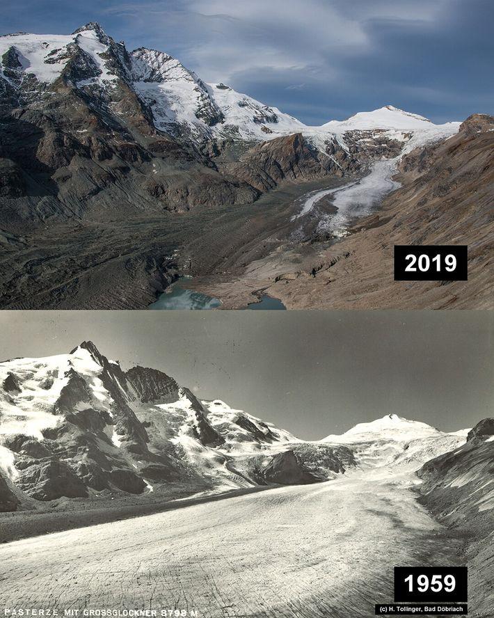 Pasterze, Österreich: Der Gletscher hatte um 1856 eine geschätzte Fläche von über 30 km², seither hat ...