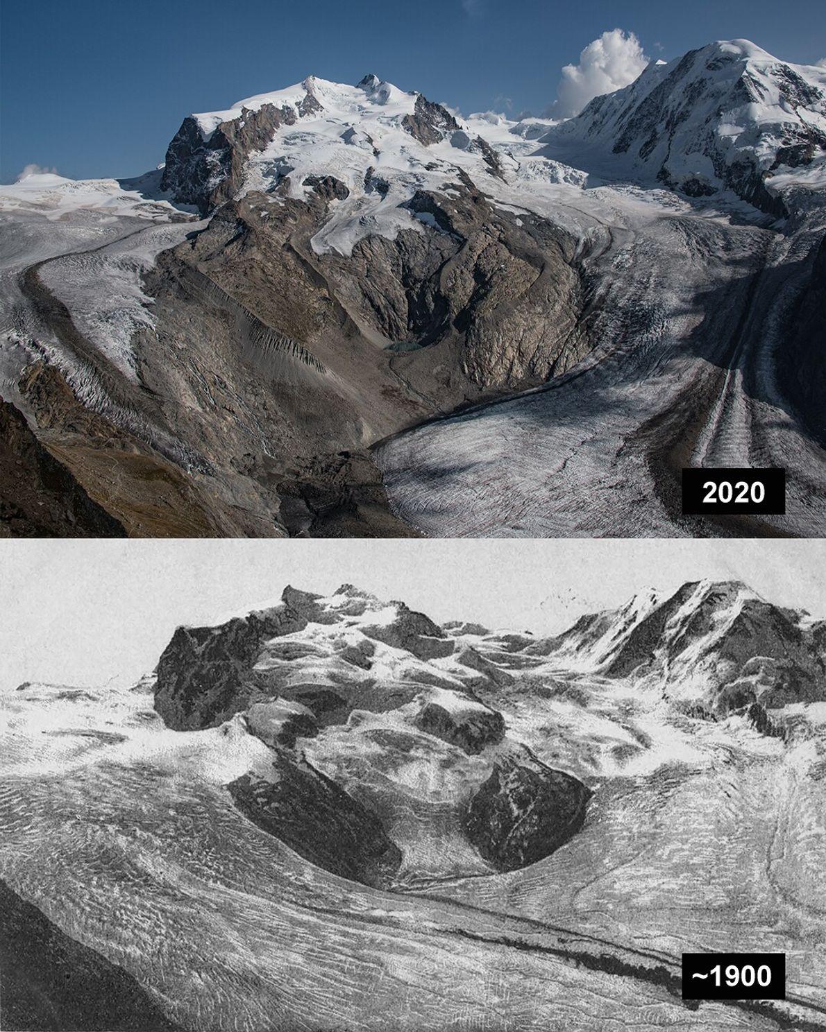 Gorner, Schweiz: Der Gornergletscher ist ein Talgletscher im Monte-Rosa-Massiv südöstlich von Zermatt und in den Walliser ...