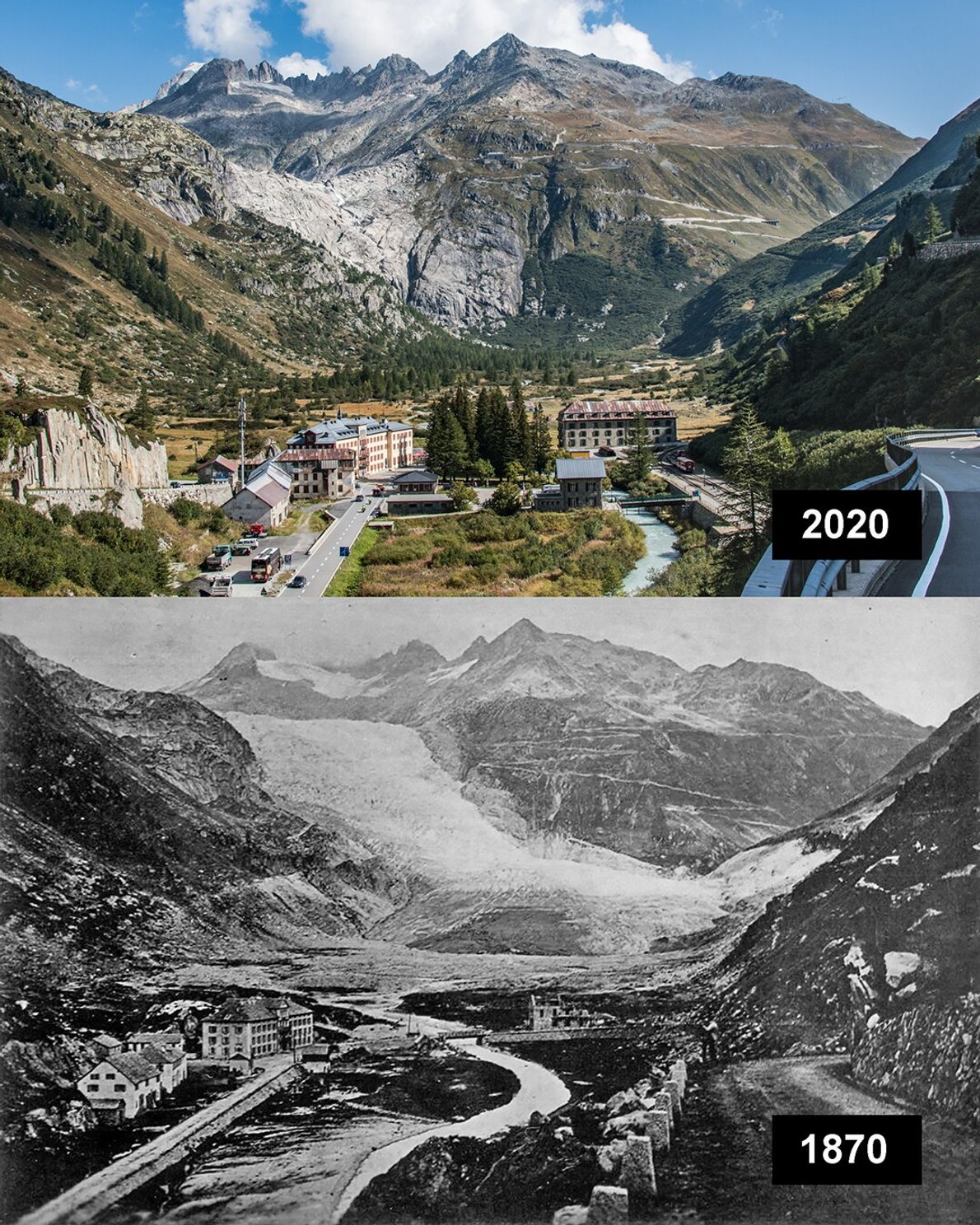 Rhone, Schweiz: Der Rhonegletscher ist ein Talgletscher und liegt im Kanton Wallis in den Zentralalpen der ...