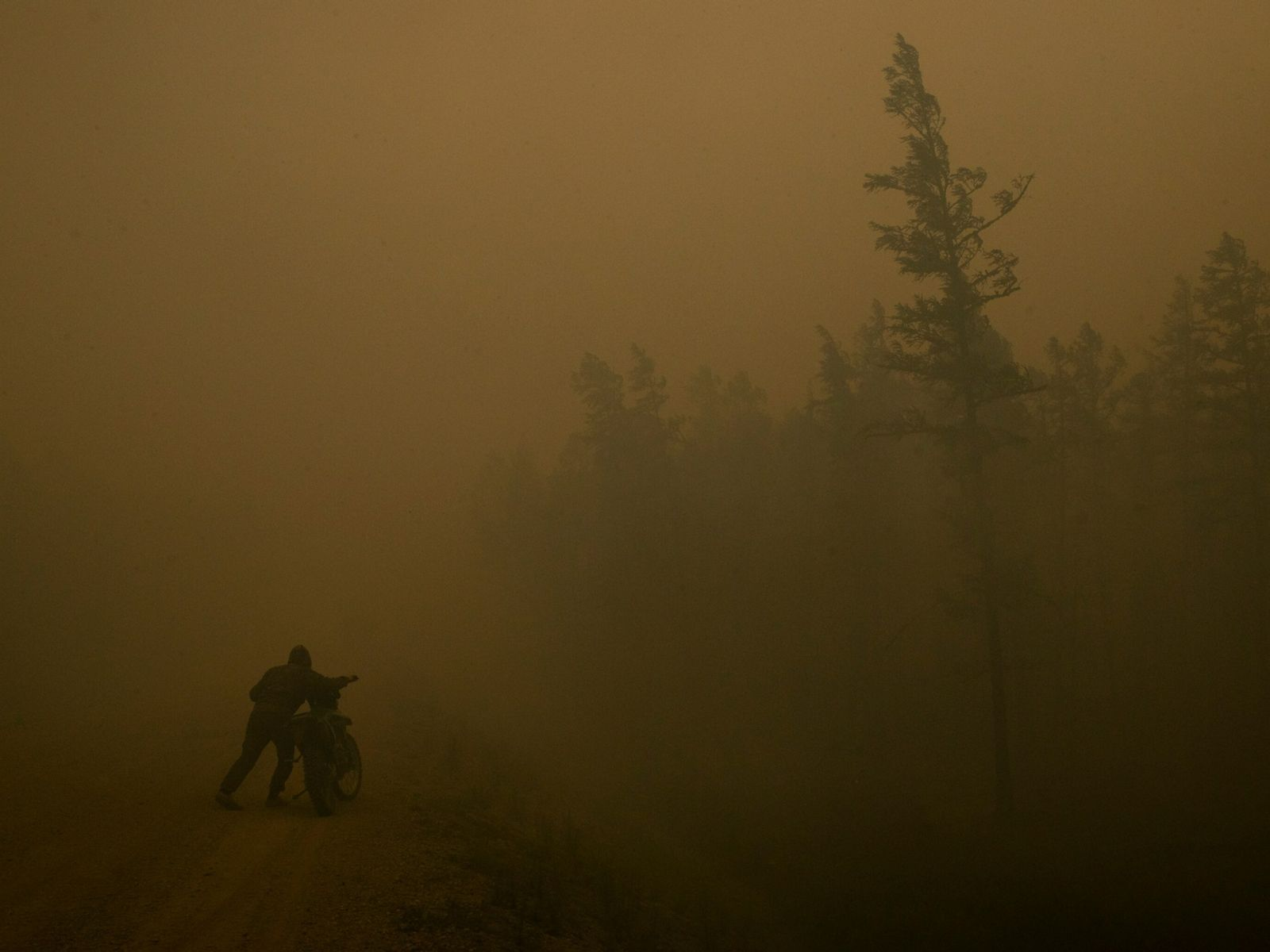 Ein freiwilliger Feuerwehrmann, schiebt sein Motorrad durch dichten Rauch zu einem Waldbrandeinsatz in der Republik Sacha, ...