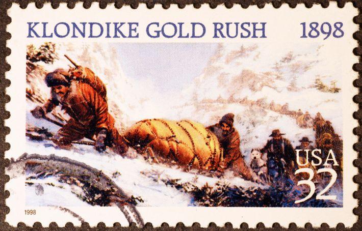 Briefmarkenmotiv illustriert die Strapazen des Goldrausches