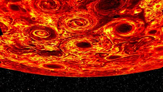 Neue Bilder zeigen riesige Zyklongruppen auf dem Jupiter