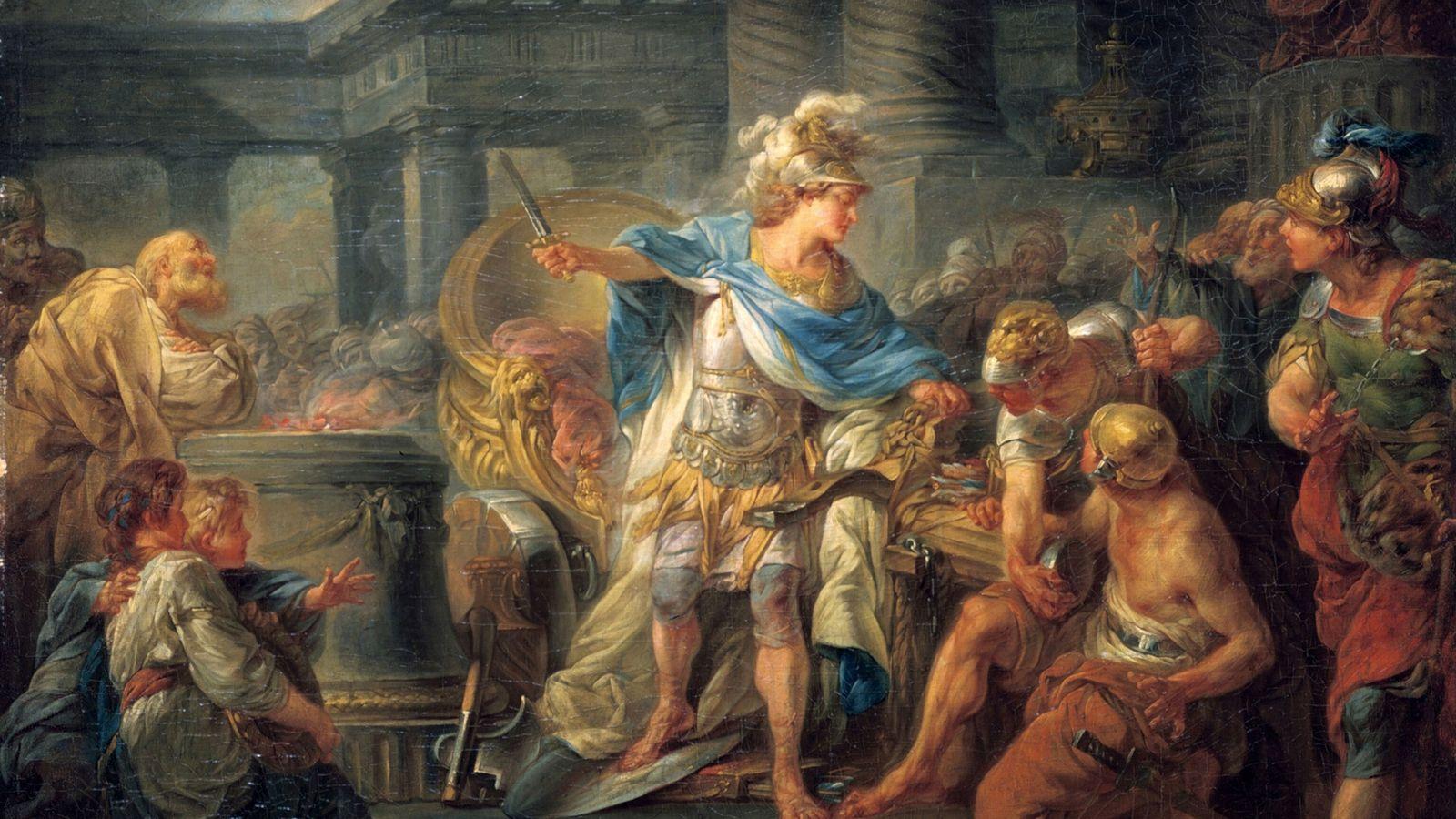 Der französische Maler Jean-Simon Berthelemy (1743-1811) verewigte die Szene, in der Alexander der Sage nachden gordischen ...