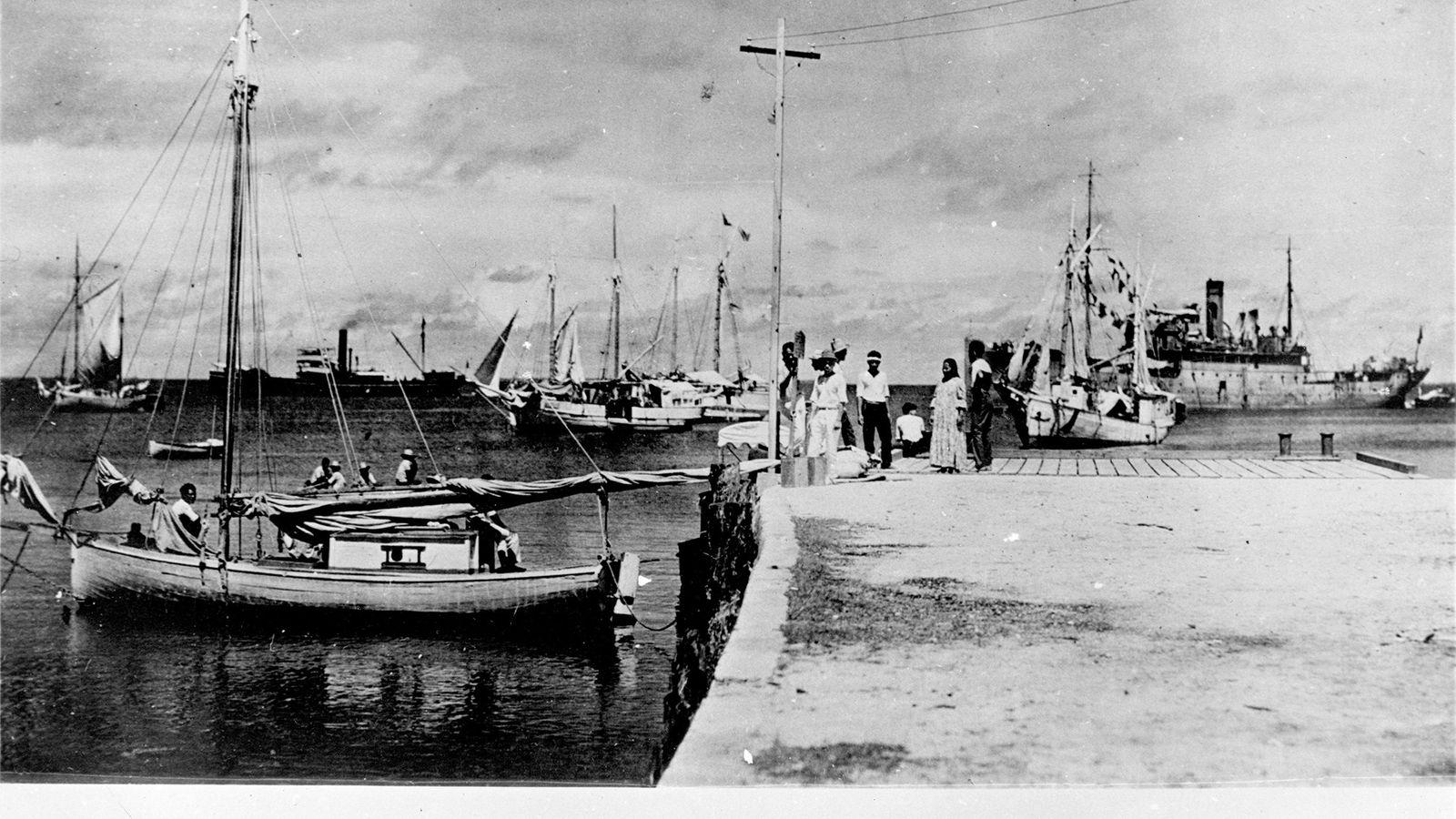 Altes Foto des Docks auf dem Jaluit-Atoll der Marshallinseln