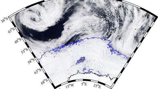 Das Weddell-Meer rund um die Antarktis ist im Winter von Meereis bedeckt. Dieses Satellitenbild vom 25. ...