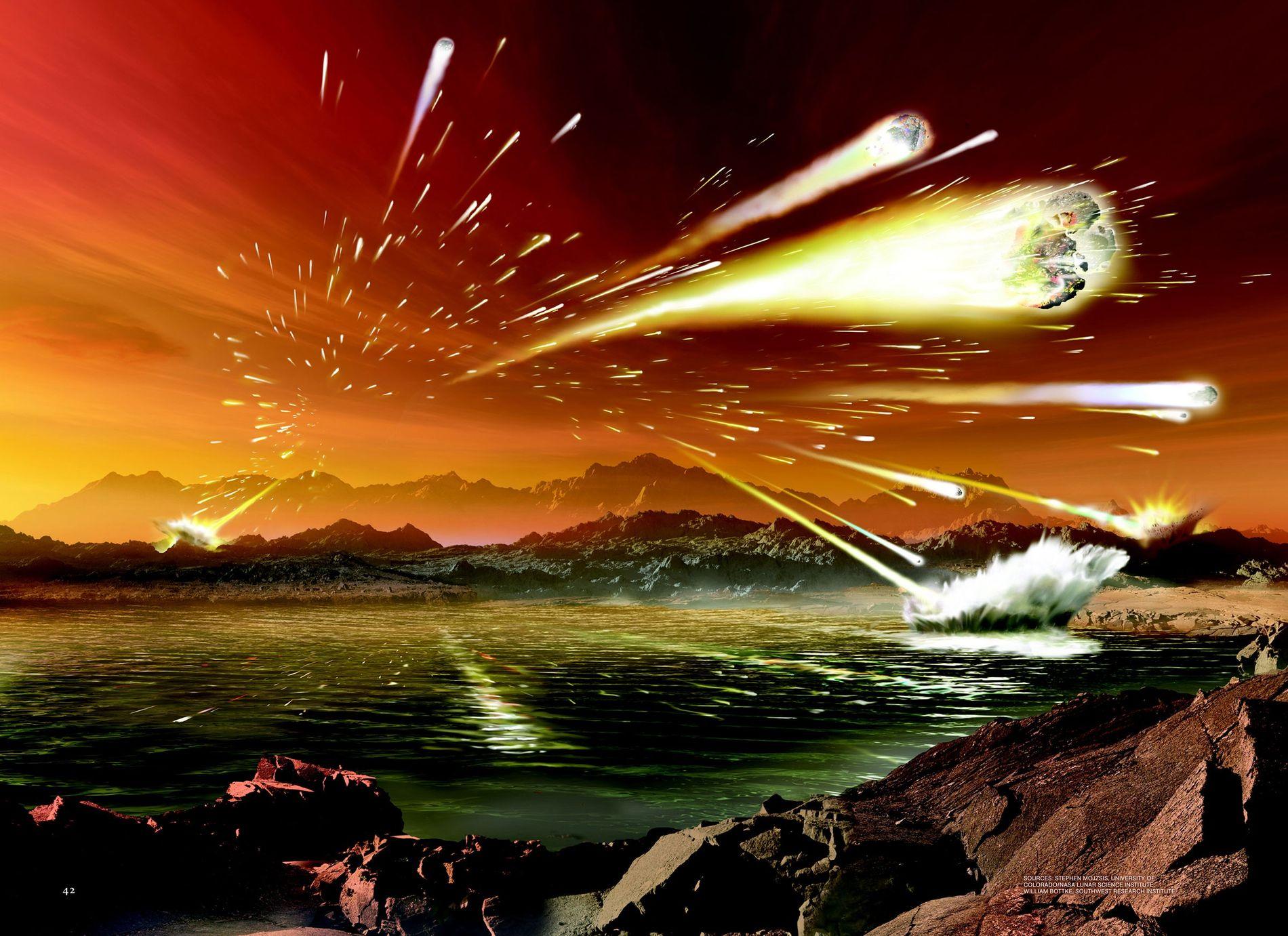 Eine Illustration zeigt, wie die Erde vor 3,8 bis 4 Milliarden Jahren ausgesehen haben könnte. Einer ...