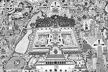 Dieser Ausschnitt aus Fullers Karte zeigt das Gebiet rund um die verbotene Stadt. Der Palastkomplex stammt ...