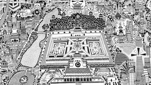 Handgemalte Karte zeigt das Peking der Gegenwart und Zukunft