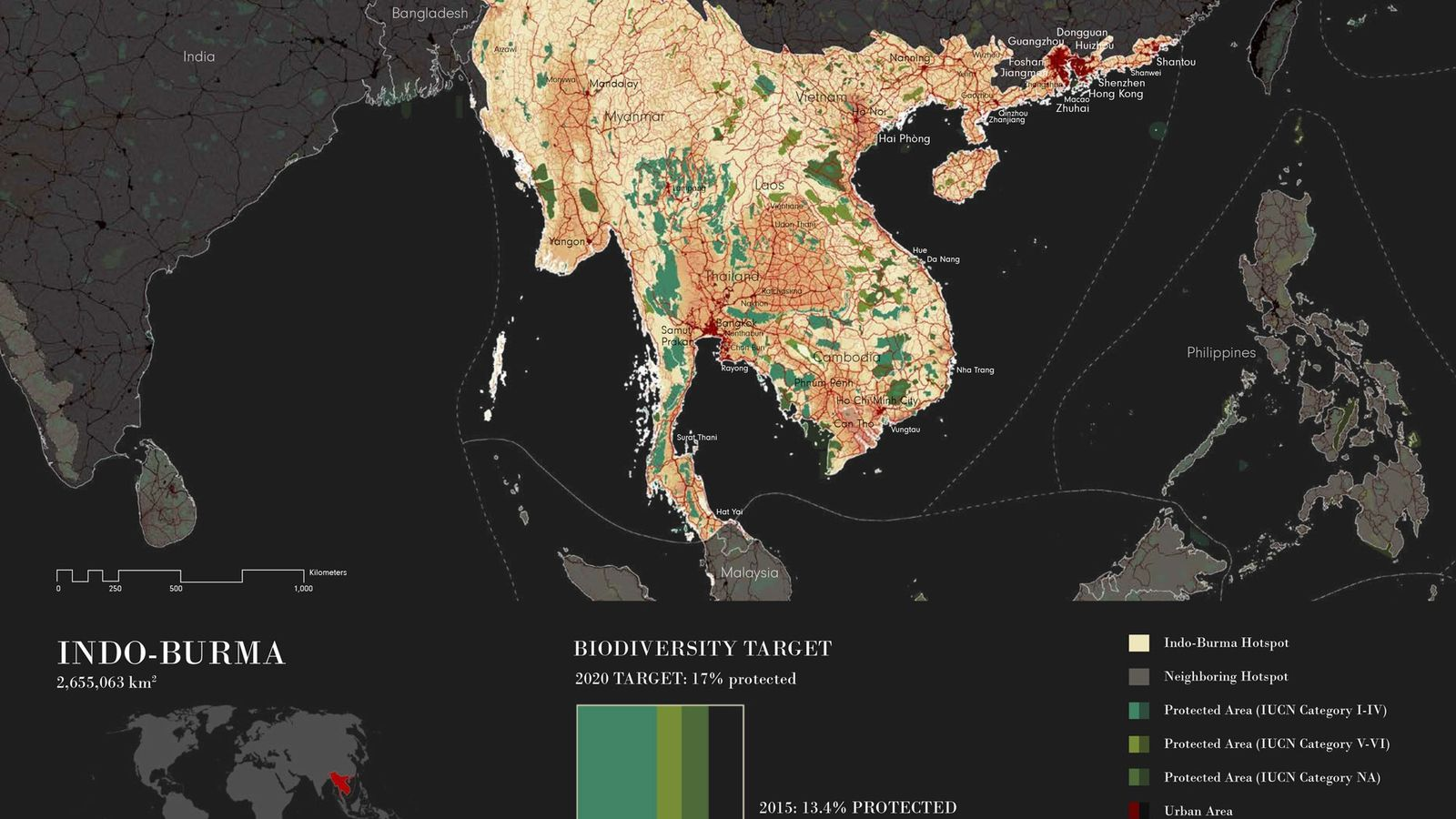 Karte des Indo-Burma-Hotspots