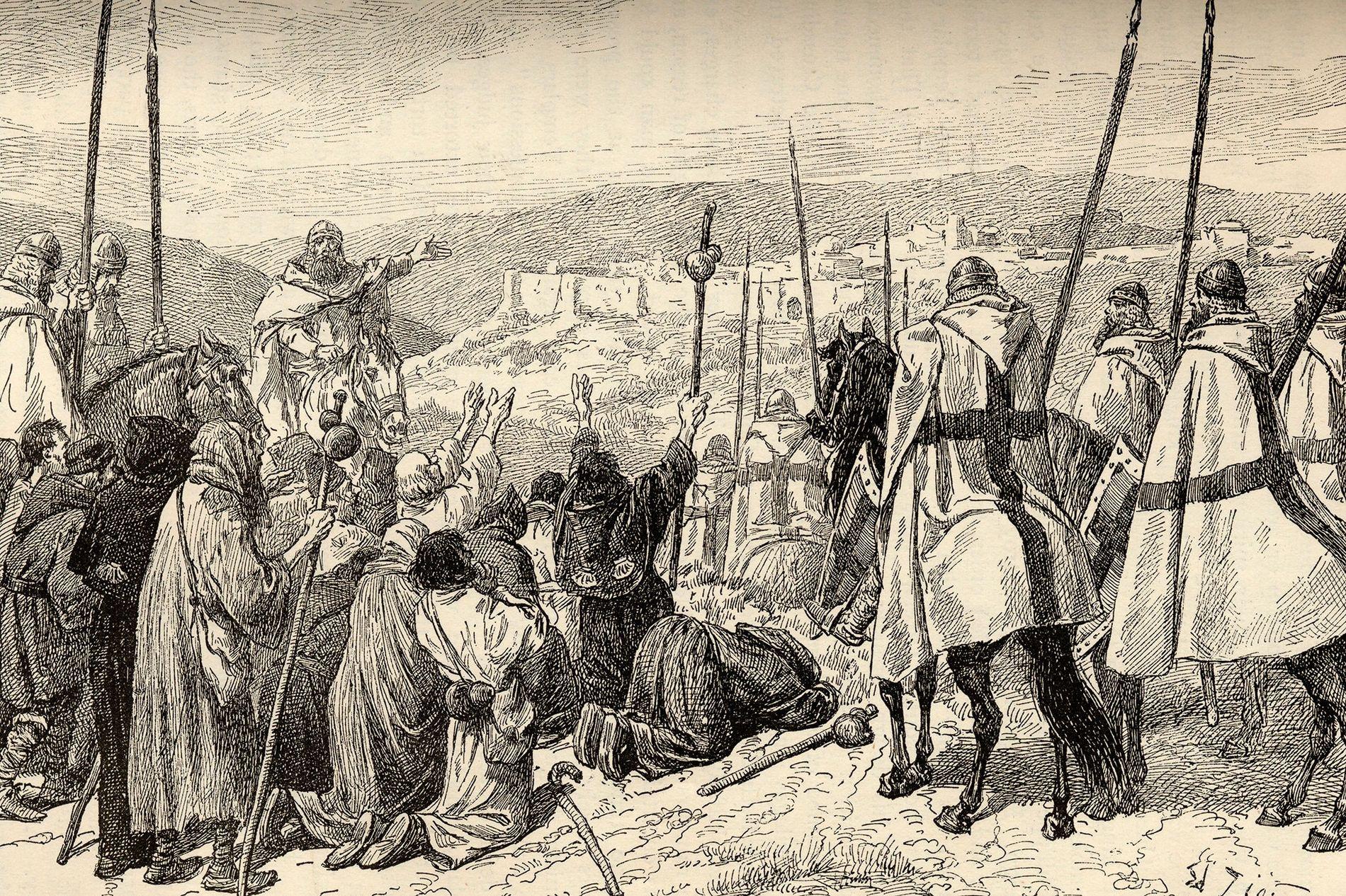 Tempelritter eskortieren während der Kreuzzüge Pilger auf den gefährlichen Straßen im Umkreis von Jerusalem.