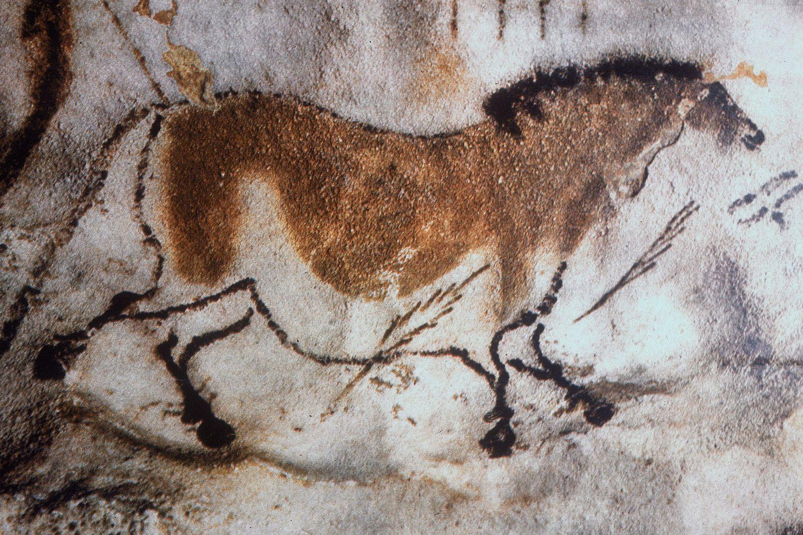 In der Höhle von Lascaux in Frankreich kann man diese Zeichnung eines Pferdes mit Pfeilen sehen.