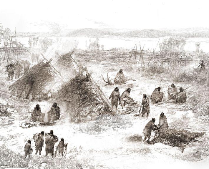 Eine künstlerische Darstellung eines alten Lagers an der Stätte Upward Sun River im heutigen Alaska.