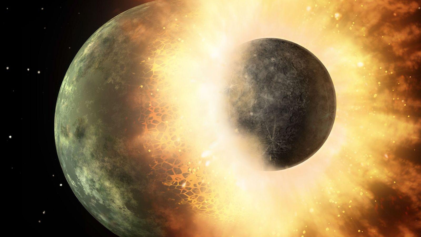 Ein Objekt von der Größe unseres Mondes schlägt in dieser Illustration der NASA in einen Planeten ...