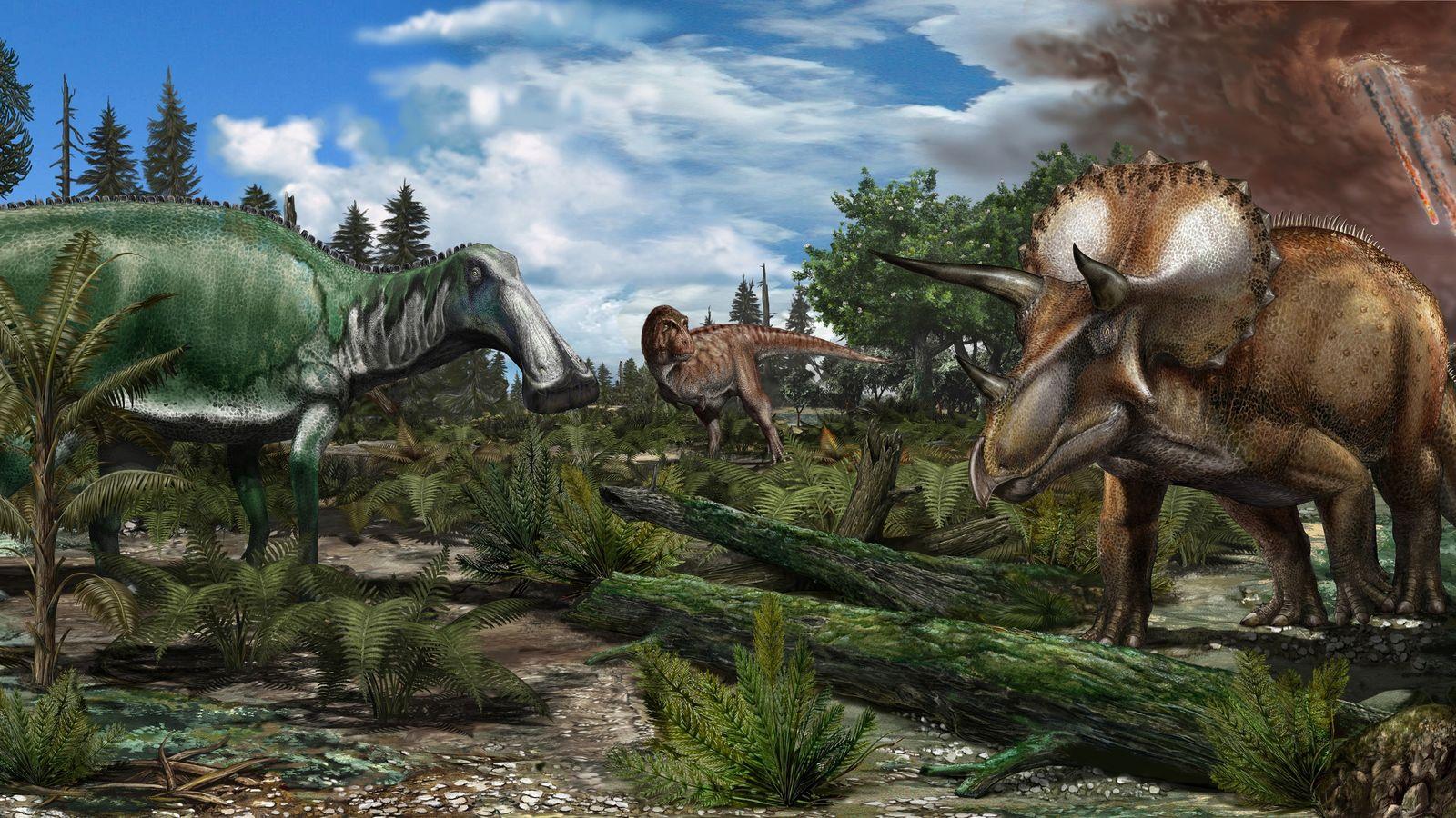 Die Rekonstruktion einer Flussniederung aus einer Zeit vor 66 Millionen Jahren zeigt Dinosaurier wie Tyrannosaurus rex, ...