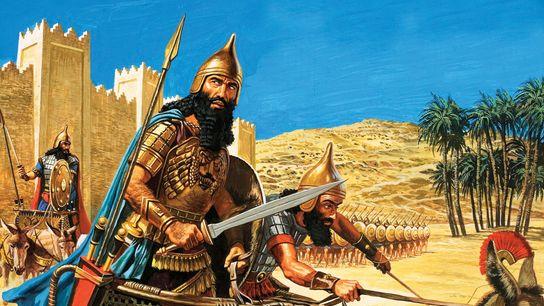 In dieser Illustration aus dem Jahr 1934 zieht Hammurapi in den Krieg.