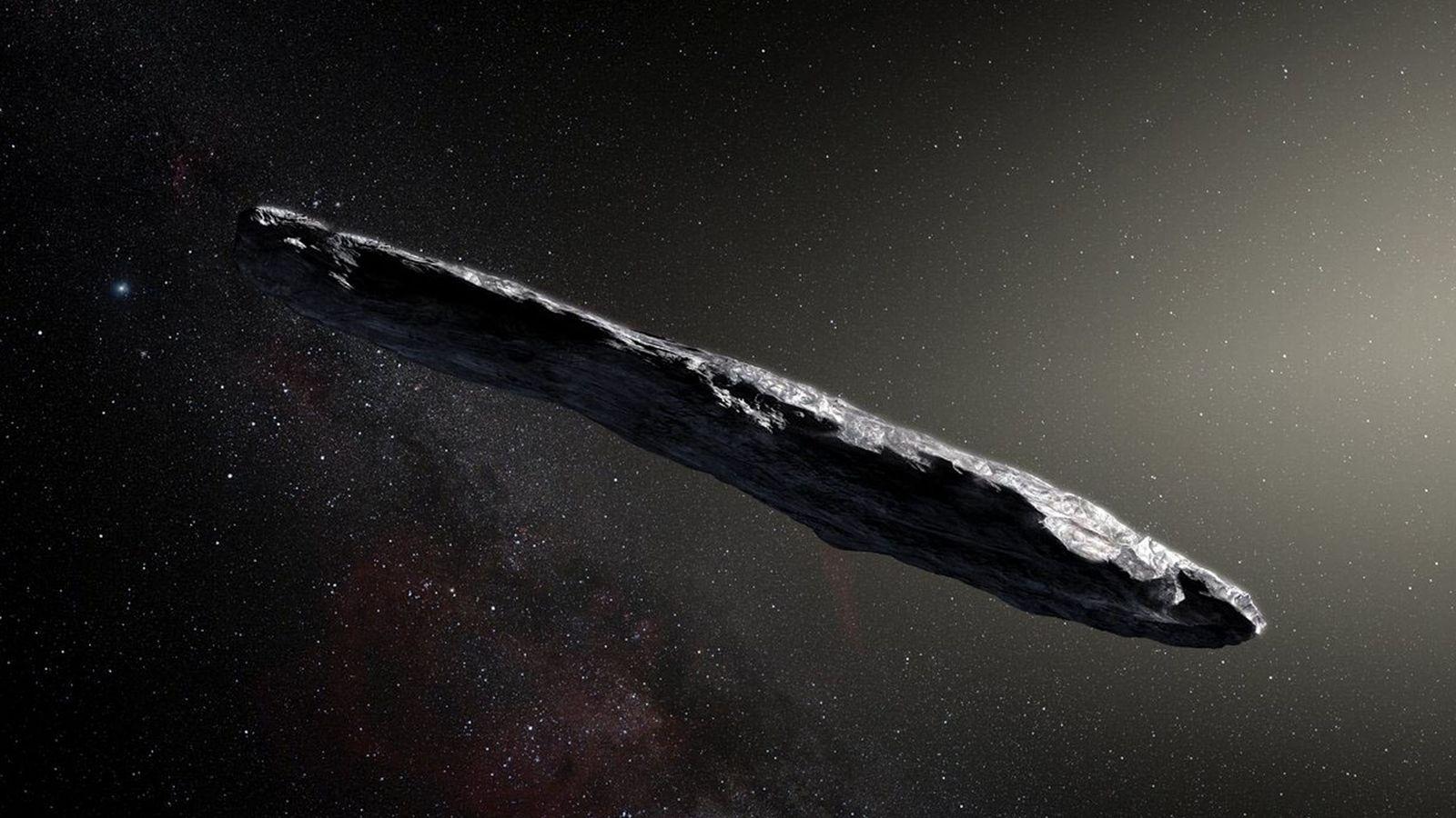 Diese künstlerische Darstellung zeigt den ersten uns bekannten interstellaren Asteroiden:  'Oumuamua. Das längliche Objekt von ...