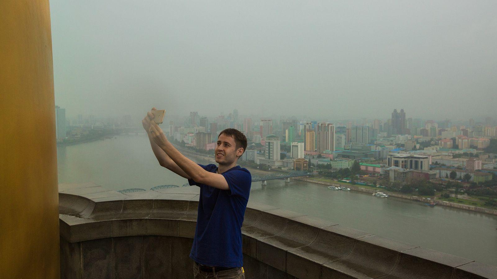 Tourist macht Selfie