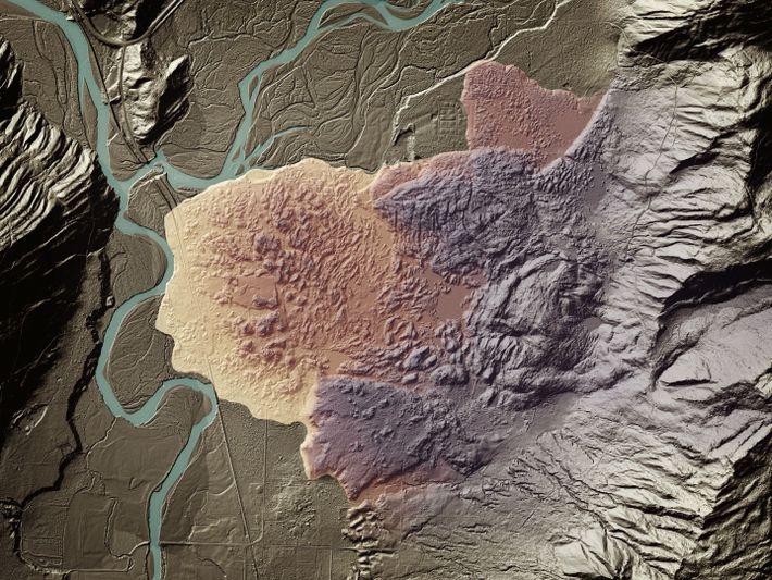 Ein Lidar-Scan offenbart einen bewachsenen Erdrutsch auf Lummi Island in der Nähe von Bellingham in Washington.