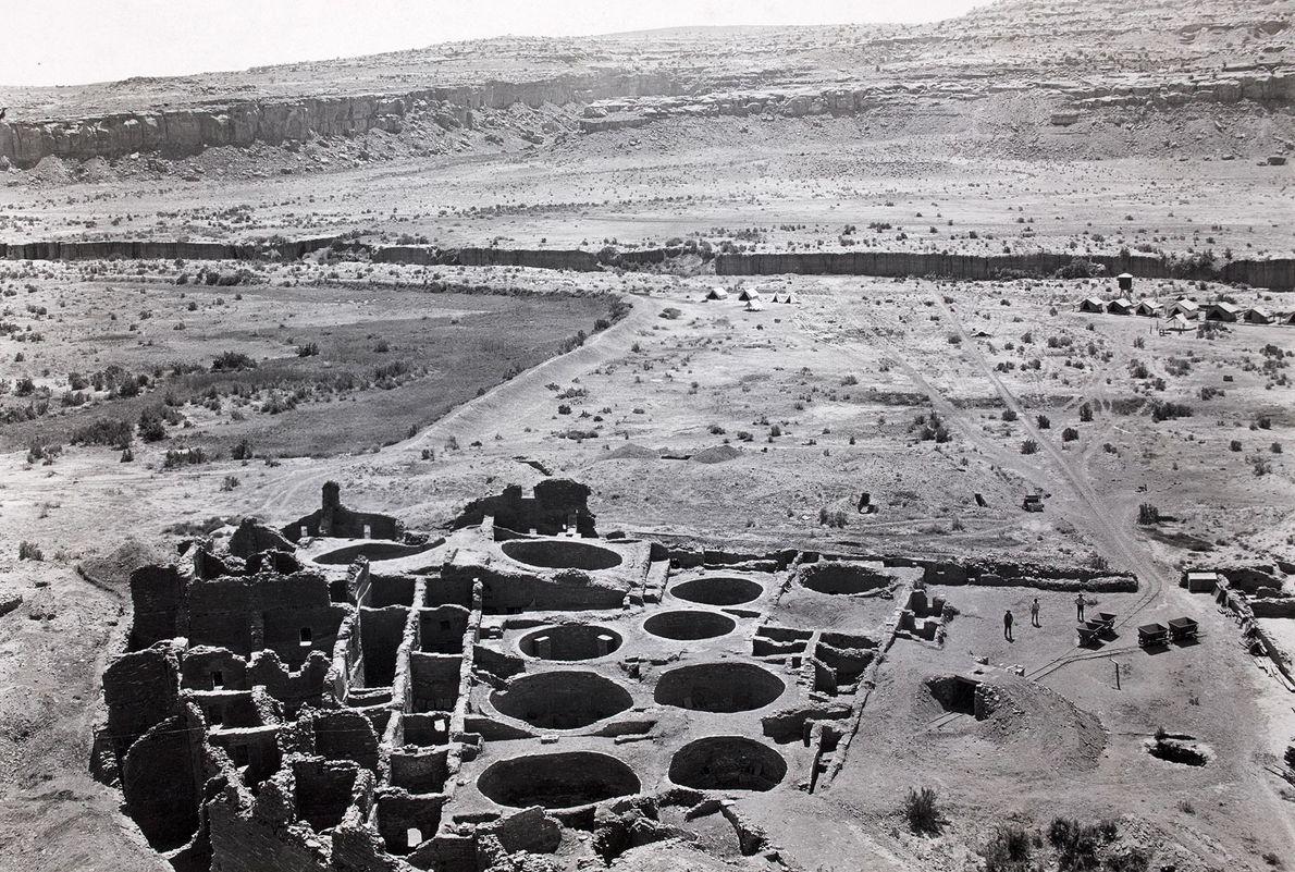 Der ausgegrabene südöstliche Bereich von Pueblo Bonito.
