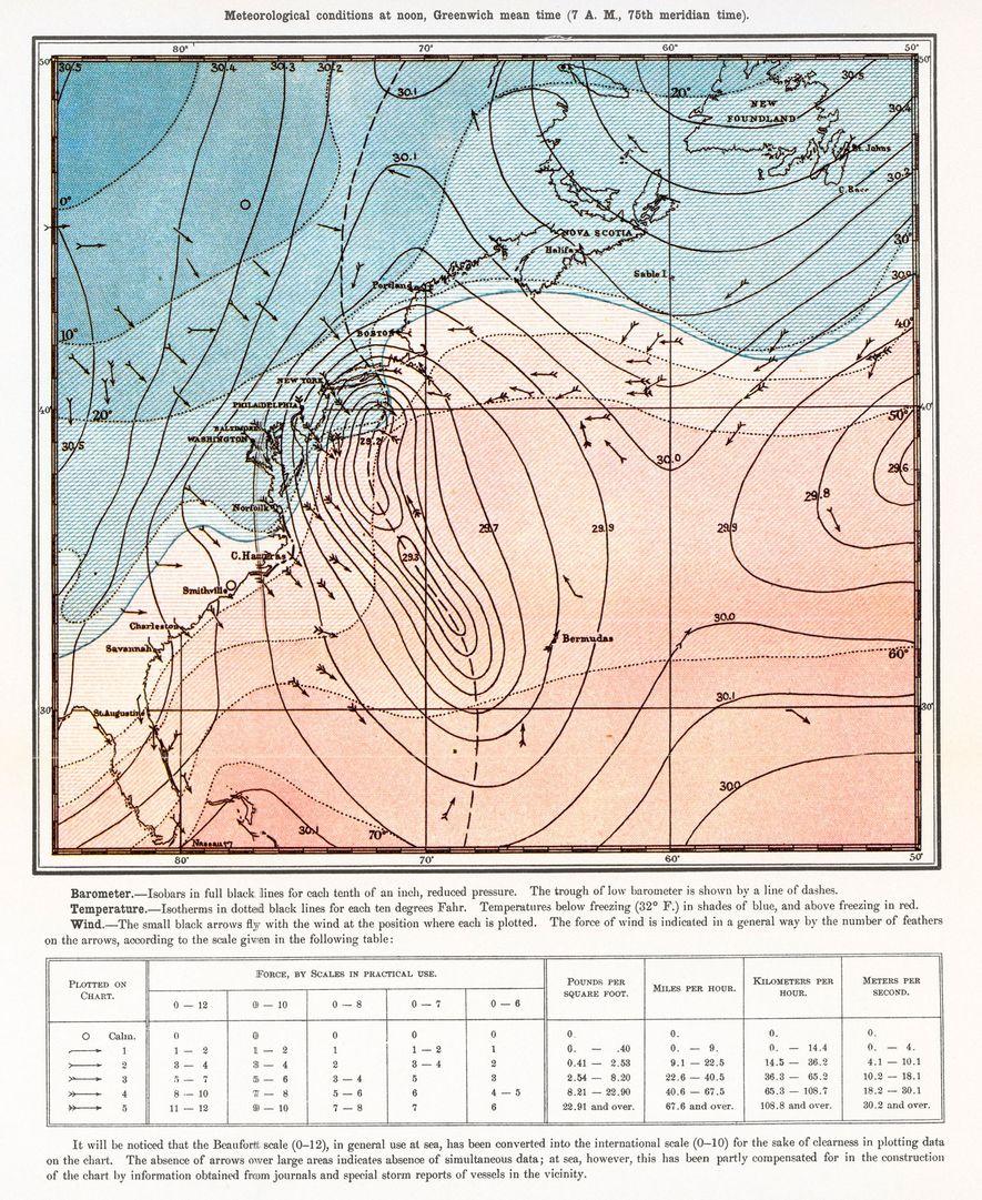 1888 DIE ERSTE KARTE: Diese Karte aus der allerersten Ausgabe des National Geographic-Magazins vom Oktober 1888 ...