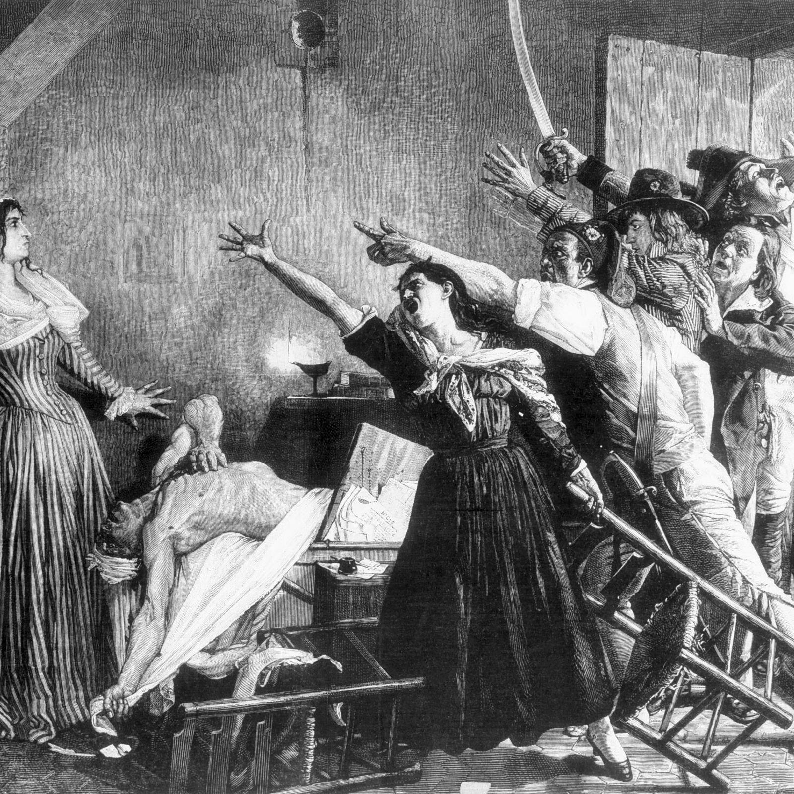 Diese Darstellung aus dem 19. Jahrhundert zeigt den Moment, nachdem der französische Revolutionär Jean-Paul Marat in ...