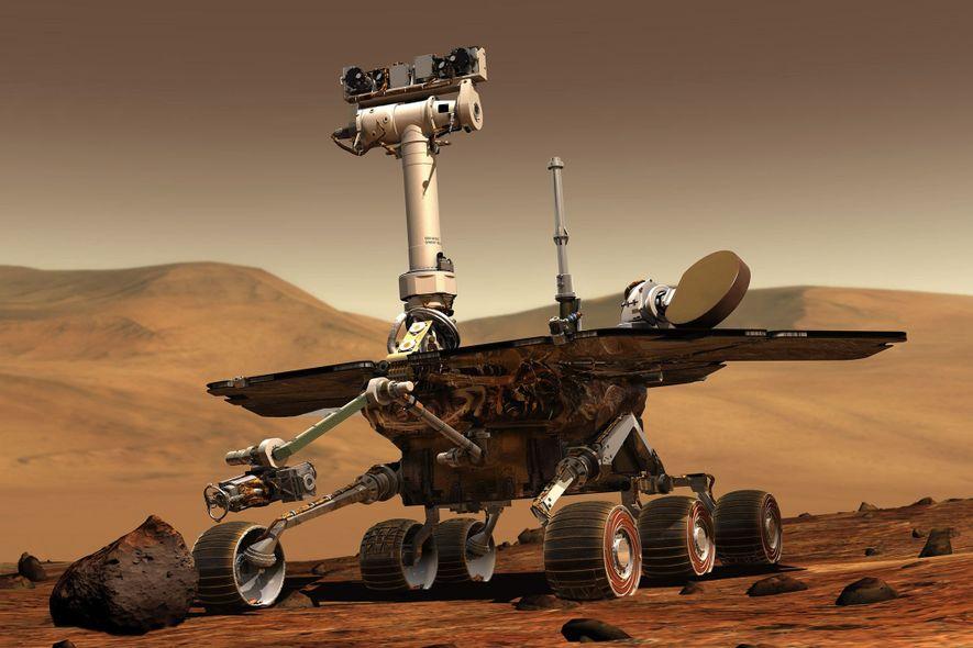 Im Januar 2004 landeten die beiden Rover Spirit und Opportunity auf entgegengesetzten Seiten des Mars und ...