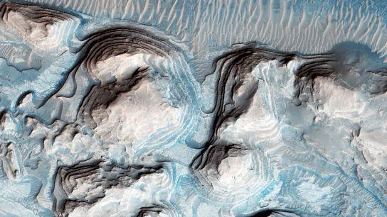 Bilder möglicher zyklischer Schichtung in der Arabia Terra auf dem Mars