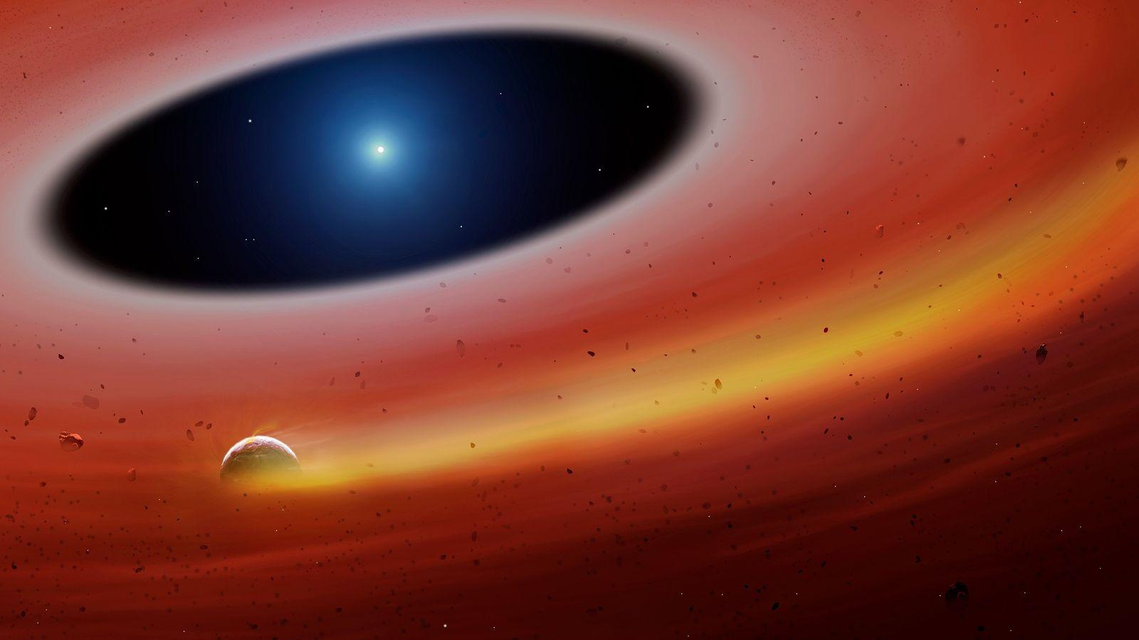 In dieser Zeichnung des neu entdeckten Systems umkreist das Fragment eines Planeten einen weißen Zwergstern.