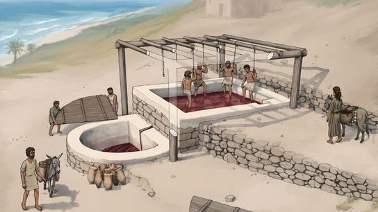 Künstlerische Rekonstruktion der Weinpresse von Tell el-Burak von Südosten aus gesehen.