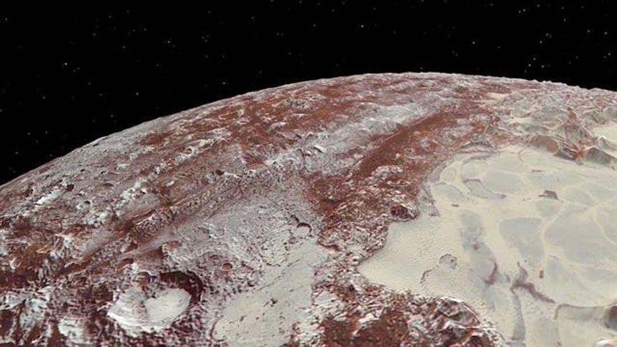 So sieht ein Flug über Pluto und seinen Mond Charon aus