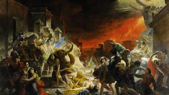 """""""Der letzte Tag von Pompeji"""" ist ein Gemälde, das Mitte des 19. Jahrhunderts entstand und den ..."""