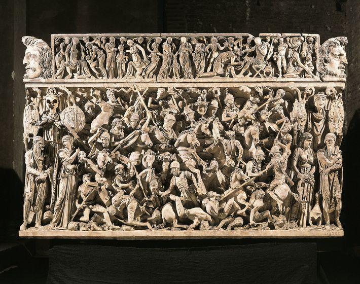 Die gewalttätige Natur der germanischen Stämme war ein beliebtes Thema in der Kunst und Literatur des ...