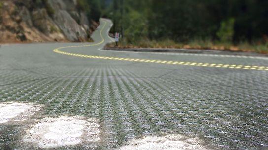 Künstlerische Darstellung von Straße mit Paneelen von Solar Roadways