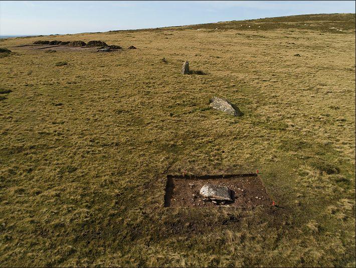 Der ehemalige Kreis von Monolithen bei Waun Mawn in Wales bei Probegrabungen im Jahr 2017.