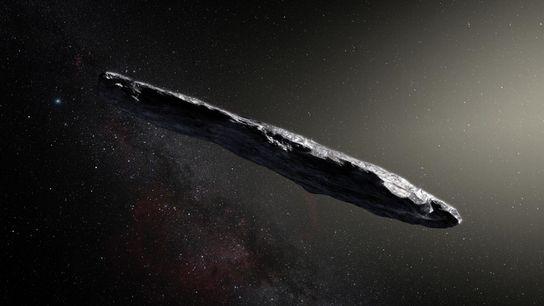 Diese künstlerische Darstellung zeigt das erste bekannte interstellare Objekt, das unser Sonnensystem passiert hat: 'Oumuamua. Es ...