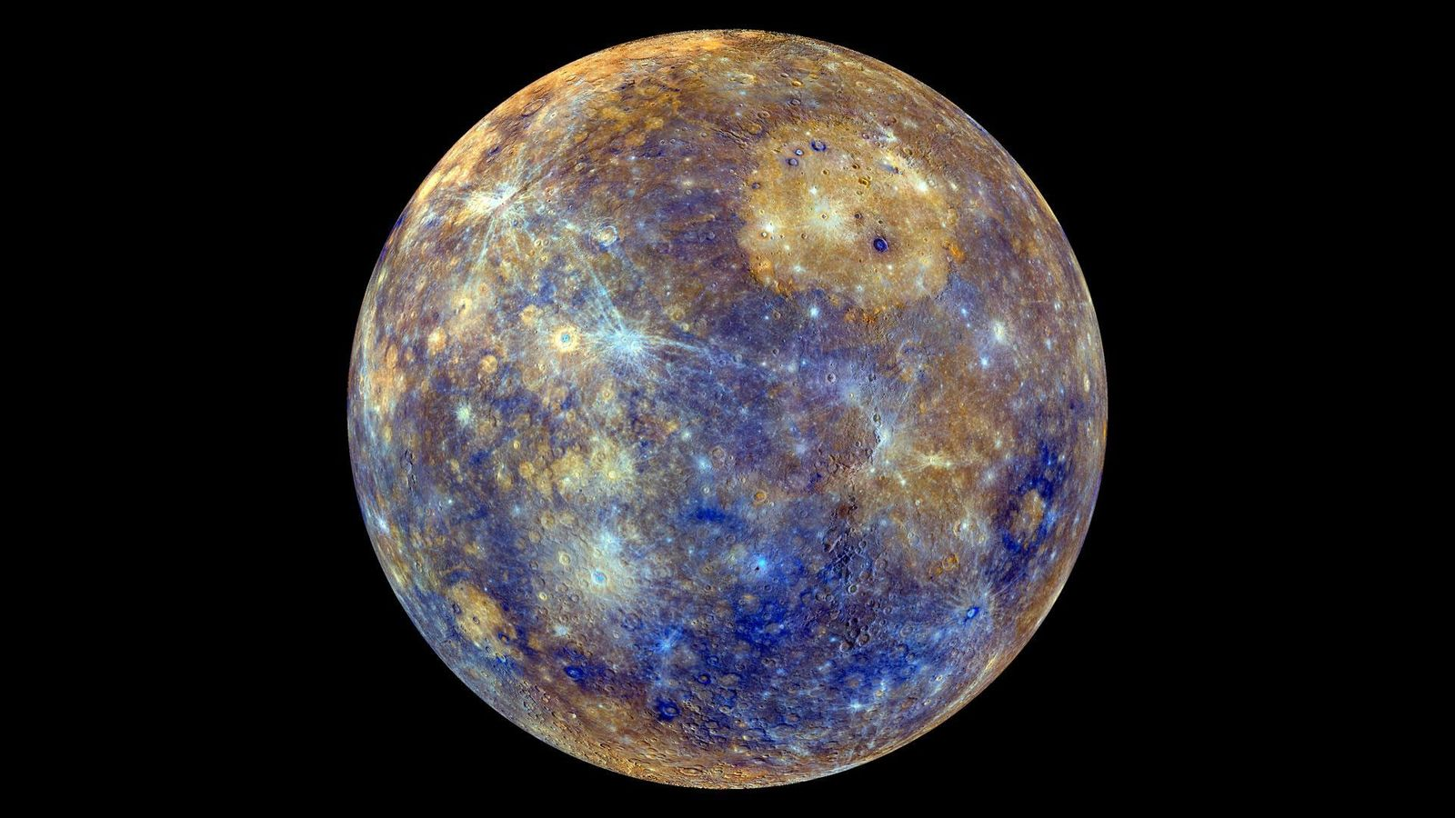 Diese farbenfrohe Aufnahme des Merkur wurde mit Bildern der NASA-Sonde MESSENGER erzeugt, die den Planeten von ...