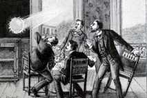 Diese französische Illustration zeigt, wie ein Kugelblitz durch ein Fenster schießt – ein Phänomen, das im ...