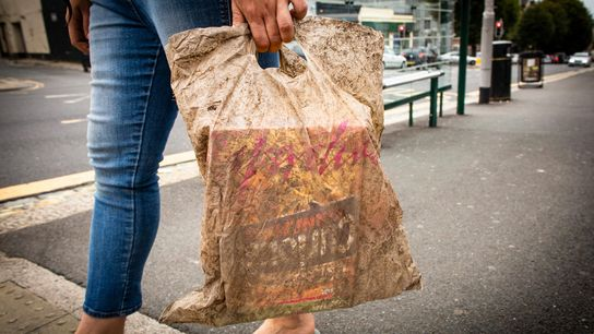 In einer biologisch abbaubaren Plastiktüte, die drei Jahre lang im Erdboden lag, konnten immer noch Einkäufe ...