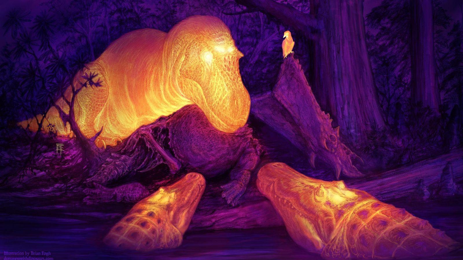 Künstlerische Interpretation zeigt die Wärmeverteilung im Körper eines  Tyrannosaurier Daspletosaurusund zweier Krokodile der Gattung ...