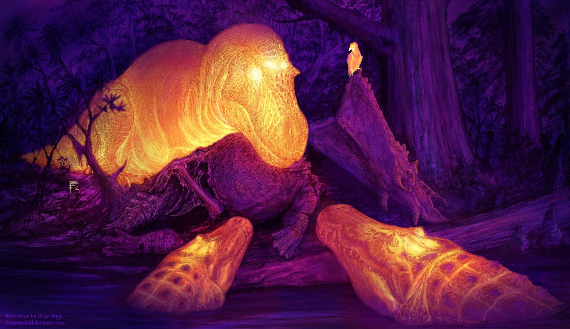 Diese künstlerische Interpretation zeigt eine hypothetische Infrarotaufnahme einer kreidezeitlichen Szene in Nordamerika: Der Tyrannosaurier Daspletosaurusund zwei Krokodile der Gattung Deinosuchusnähern sich dem Kadaver eines gehörnten Sauriers. Bestimmte Bereiche am Schädel der Tiere geben überschüssige Wärme an die Umgebung ab – eine Anpassung, die den Tieren geholfen haben könnte, ihr Gehirn zu kühlen.