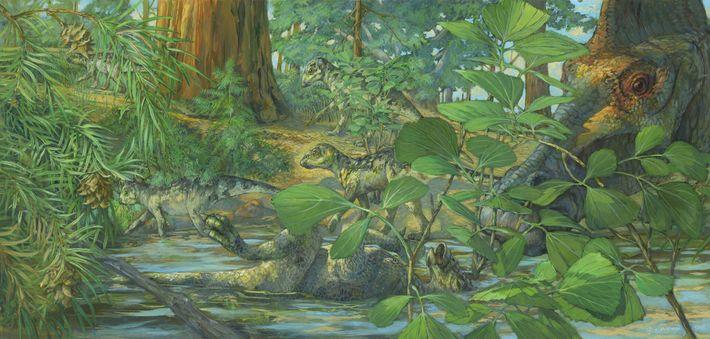 Eine Rekonstruktion des Nistplatzes von Hypacrosaurus stebingeri aus der Two Medicine Formation von Montana.