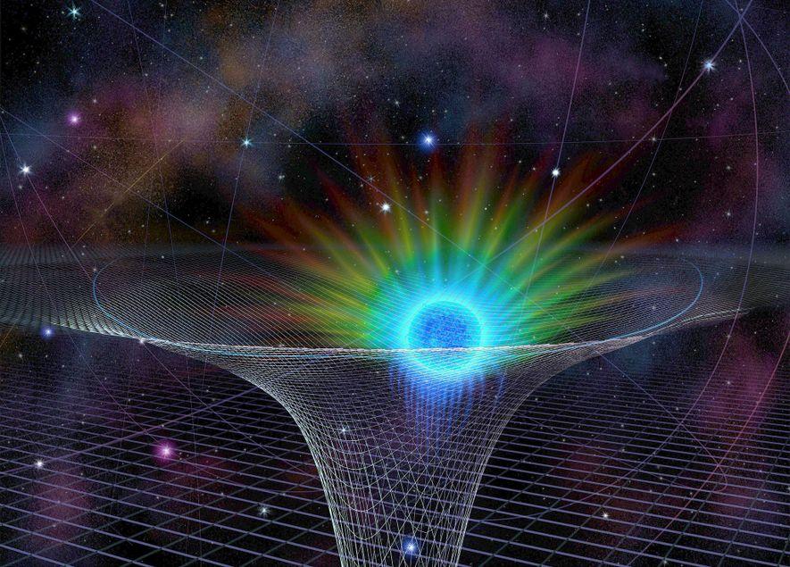 Der Stern S0-2 bei seiner größten Annäherung an das Supermassereiche Schwarze Loch Sagittarius A*, das in ...
