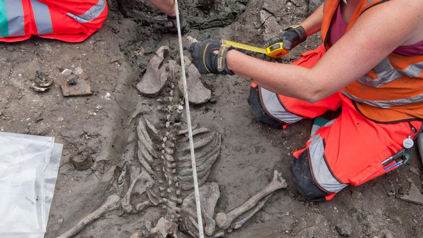 In London untersuchen Archäologen das Skelett eines Mannes Anfang Dreißig, dessen Überreste mehr als 500 Jahre ...