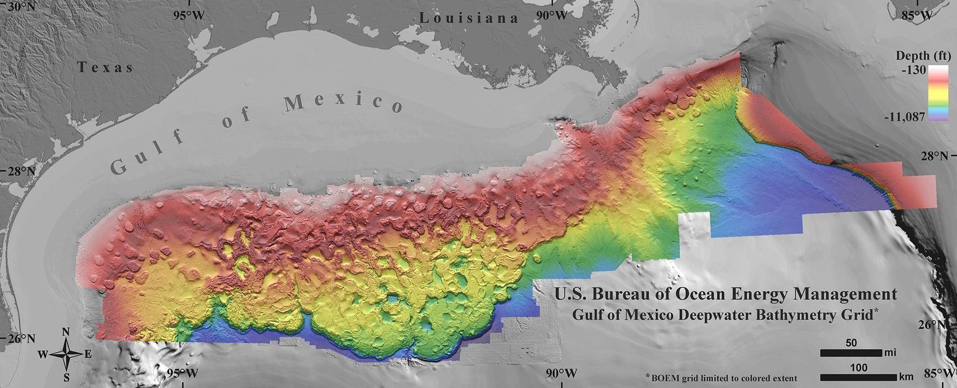 Hochauflösende Karte des Meeresbodens vom Golf von Mexiko