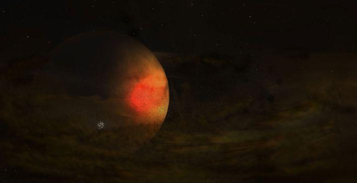 Eine blasse Staubscheibe umgibt einen großen Planeten in dieser Illustration des Sternsystems PDS 70. Dort entsteht ...