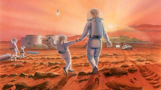 Illustration zeigt eine Familie auf dem Mars