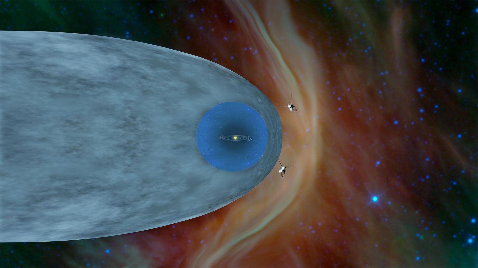 Eine Illustration zeigt die Positionen von Voyager 1 und 2 jenseits der Heliosphäre – einem schützenden ...