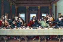 """Dieses Bild, das auf Leonardo Da Vincis """"Abendmahl"""" basiert, zeigt Jesus Christus und die Zwölf Apostel. ..."""