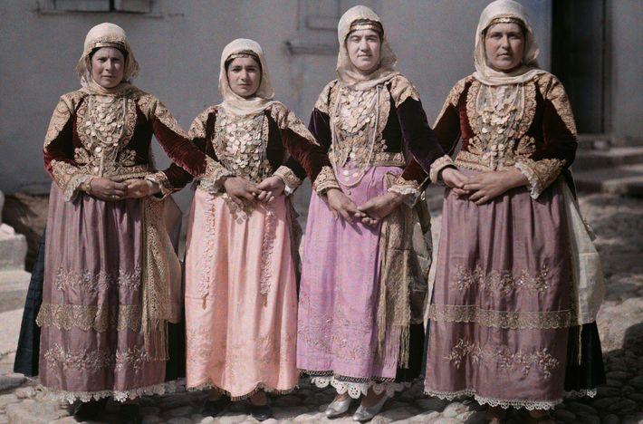 Women perform a traditional Easter dance in Megara, Greece, in this autochrome photo from a 1930 ...